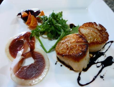Duck Prosciutto with Scallop Cakes http://CohoRestaurant.com
